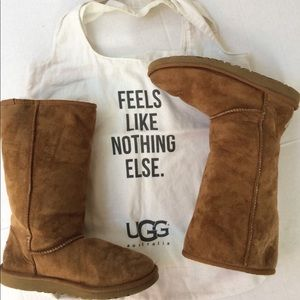 Tan Suede Ugg Boots w/ Wool Lining and Bag. SZ 6